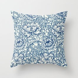 William Morris Navy Blue Botanical Pattern 8 Throw Pillow