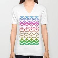 ikat V-neck T-shirts featuring Ikat Rhythm & Blues by micklyn