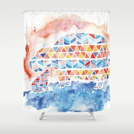 Quilted Pattern Mama and Baby Hippo Watercolor Shower Curtain