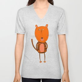 Cute funny tiger Unisex V-Neck