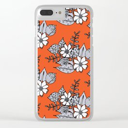 Orangey Gray Floral Clear iPhone Case