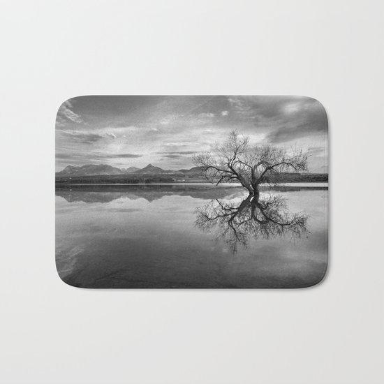 """Magic tree"" BW. Sunset at the lake Bath Mat"