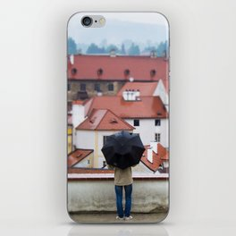 Man with Black Umbrella iPhone Skin