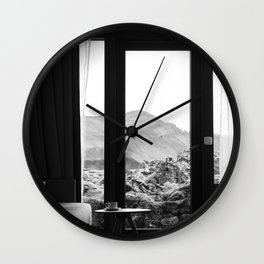 Coffee cup and lava field Wall Clock