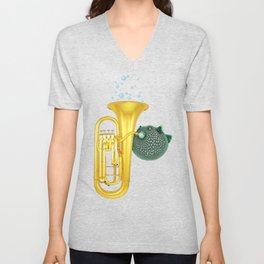 Puffer Fish Playing Tuba Unisex V-Neck