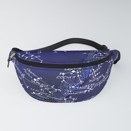 French February Star Map in Deep Navy & Black, Astronomy, Constellation, Celestial Fanny Pack