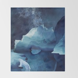 Polar Bear by night Throw Blanket
