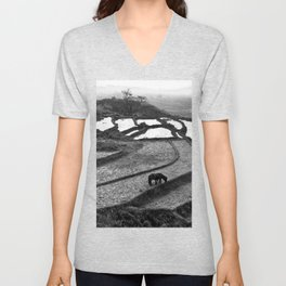Wild Horses on the Rice Terraces of Northern Vietnam Unisex V-Neck