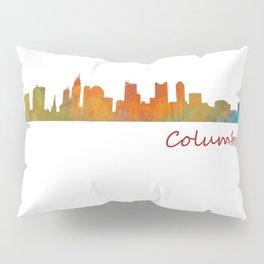 Columbus Ohio, City Skyline, watercolor  Cityscape Hq v1 Pillow Sham
