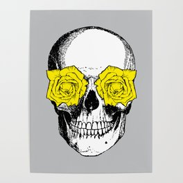 Skull and Roses | Grey and Yellow Poster