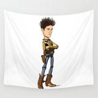 bastille Wall Tapestries featuring Cactus Dan (colour) by Other People's Characters