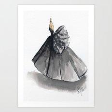 Polka Dot Watercolor Fashion Gown Art Print