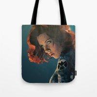black widow Tote Bags featuring Black Widow by Chelsea Lindsay