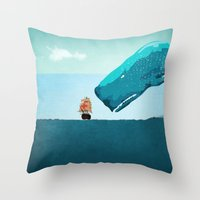 whale Throw Pillows featuring Whale by mark ashkenazi