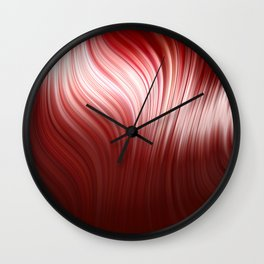 Red wave art Wall Clock