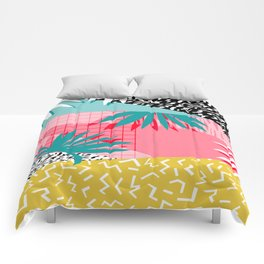 Bingo - throwback retro memphis neon tropical socal desert festival trendy hipster pattern pop art  Comforters