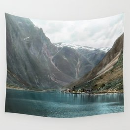 Village by the Lake & Mountains Wall Tapestry