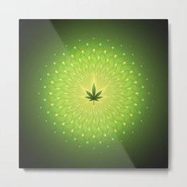 Cannabis. power plant. Sacred geometric mandala Metal Print
