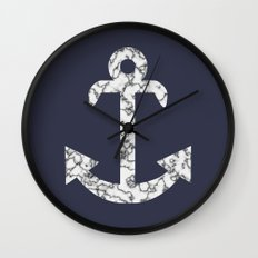 Marble Anchor in Navy Wall Clock