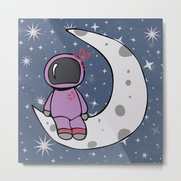 Girl Astronaut On The Moon Metal Print