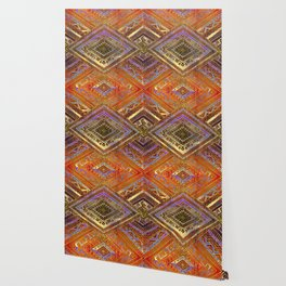 Tribal  Ethnic Boho Pattern burnt orange and gold Wallpaper