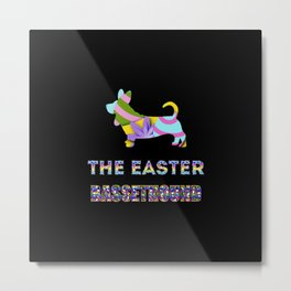Basset Hound gifts   Easter gifts   Easter decorations   Easter Bunny   Spring decor Metal Print