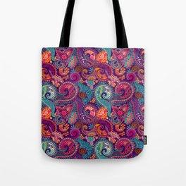 Purple Orange & Teal Floral Paisley Tote Bag