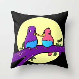 Bird and the tramp Throw Pillow