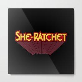 She-Ratchet Vintage Superheroine Typography Metal Print