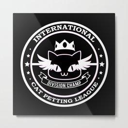International Cat Petting League White on Black Metal Print