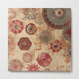 Bohemian Floral Moroccan Style Design Metal Print