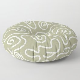 Wandering Paths in Sage Green Floor Pillow