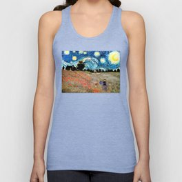 Monet's Poppies with Van Gogh's Starry Night Sky Unisex Tank Top
