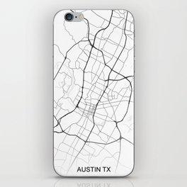 Austin TX Map White USA iPhone Skin