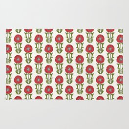 Dot Floral in Red Rug