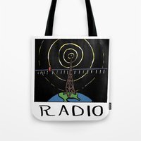 radio Tote Bags featuring Radio by Ken Coleman