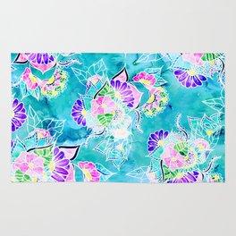 Turquoise blue floral bright spring summer boho illustration pattern Rug
