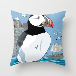 Puffins' Paradise Throw Pillow