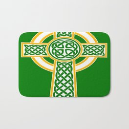 St Patrick's Day Celtic Cross White and Green Bath Mat