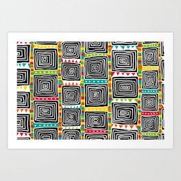 Tribal Squares white Art Print
