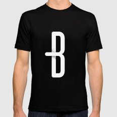 B 001 Black Mens Fitted Tee MEDIUM