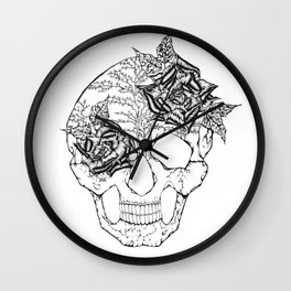 Skull with Roses Wall Clock