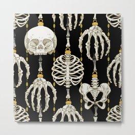Skeleton Baubles Pattern Metal Print