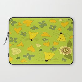 Yellow Mice Hearts and Flowers Digital Love Art Laptop Sleeve