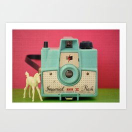 Imperial Horse (Blue Camera, Toy Horse) Art Print
