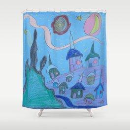 Village by Starlight Shower Curtain