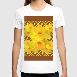 Coffee Brown Pattern of Golden Daffodils Art T-shirt