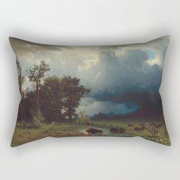 Albert Bierstadt - Buffalo Trail, The Impending Storm (1869) Rectangular Pillow