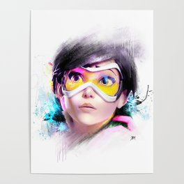 Over watch Tracer Abstract Fan Art Painting Poster