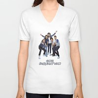 one direction V-neck T-shirts featuring One Direction by ezmaya